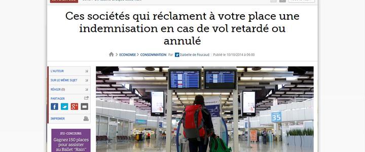 Le Figaro : Ces sociétés qui réclament à votre place une indemnisation en cas de vol retardé ou annulé